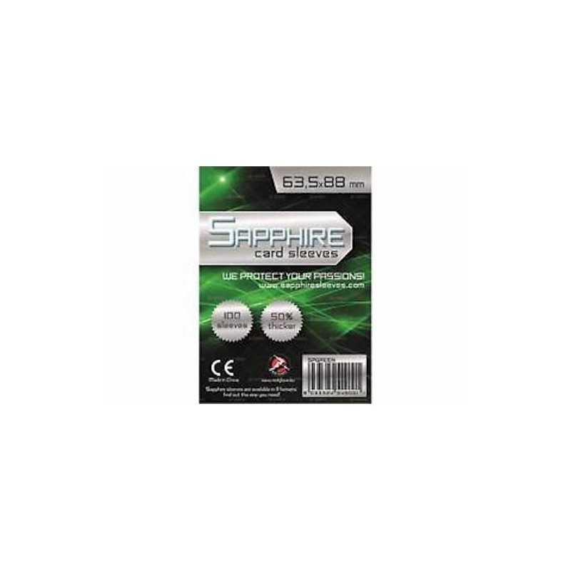 100 BUSTINE PROTETTIVE Sapphire GREEN card sleeves 63,5 x 88 mm RED GLOVE 50% più spesse TRASPARENTI verde Red Glove - 1