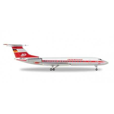 INTERFLUG TUPOLEV TU-134A modellino HERPA aereo in metallo 527095 scala 1:500 WINGS Herpa - 1