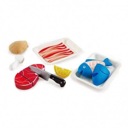 PIATTI PROTEICI GUSTOSI tasty proteins HAPE gioco di imitazione IN LEGNO 9 pezzi E3155 carne e pesce 3+ Hape - 1