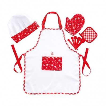 CHEF PACK set accessori HAPE gioco di imitazione IN TESSUTO cucina 5 PEZZI grembiule guanti cappello cucchiai E3162 età 3+ Hape
