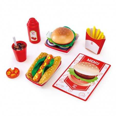 FAST FOOD SET cena americana HAPE gioco di imitazione IN LEGNO cucina 27 PEZZI menu happy meal E3160 età 3+ Hape - 1
