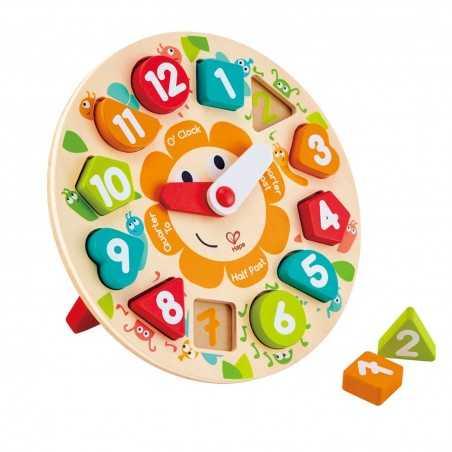 CHUNKY CLOCK PUZZLE orologio ad incastro HAPE gioco di imitazione IN LEGNO ora 13 PEZZI 4° livello E1622 età 3+ Hape - 1