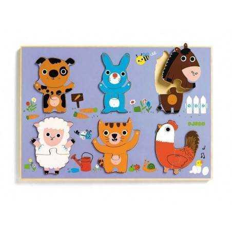 Puzzle in legno in rilievo Djeco COUCOU CAT 12 pz., età 18m+ Djeco - 1
