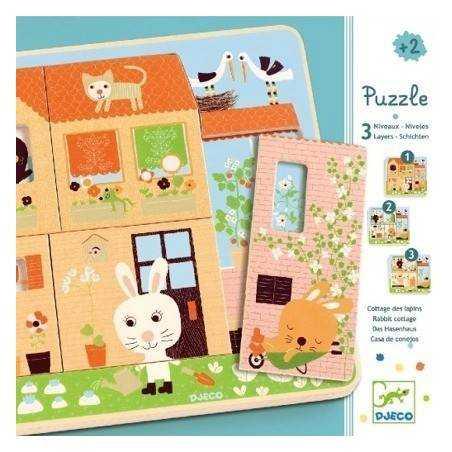 Puzzle legno Djeco 3 livelli  CASA DEL CONIGLIO età 2+ Djeco - 1