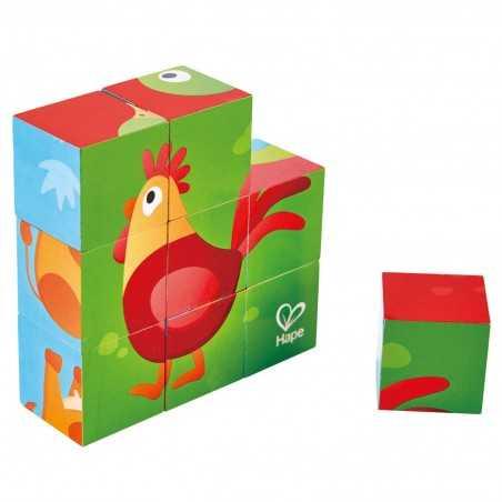 BLOCCHI ANIMALI DELLA FATTORIA farm animal block puzzle 9 CUBI gioco HAPE in legno E1618 sei in uno LEVEL 3 età 24 mesi + Hape -