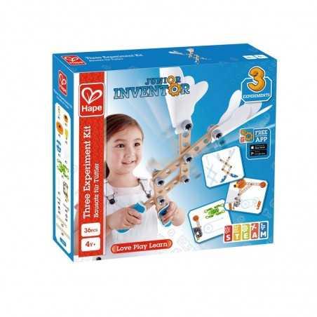 KIT PER 3 ESPERIMENTI junior inventor 37 PEZZI gioco HAPE in legno e plastica E3030 costruzioni STEAM età 4+ Hape - 1