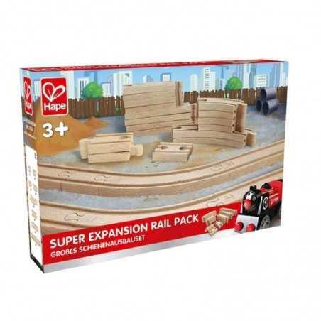 SET ESPANSIONE BINARI in legno HAPE 24 pezzi FERROVIA trenino E3707 treno SUPER EXPANSION RAILWAY PACK età 3+ Hape - 1