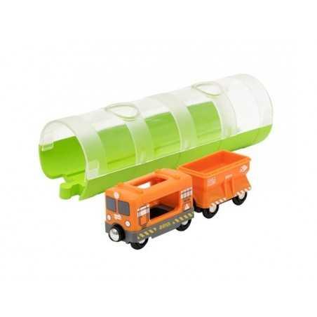 TRENO MERCI CON TUNNEL pista dei treni BRIO trenino 33891 in legno e plastica WORLD cargo train and tunnel 3+ BRIO - 1