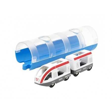 TRENO PASSEGGERI CON TUNNEL pista dei treni BRIO trenino 33890 in legno e plastica WORLD travel train and tunnel 3+ BRIO - 1
