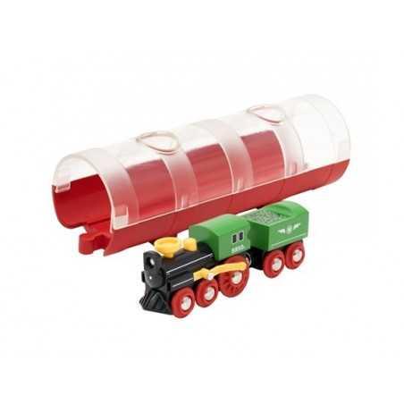 TRENO A VAPORE CON TUNNEL pista dei treni BRIO trenino 33892 in legno e plastica WORLD steam train and tunnel 3+ BRIO - 1