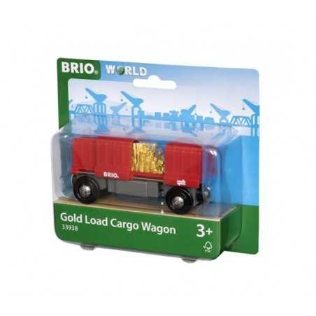 VAGONE MERCI CARICO D'ORO treni in legno BRIO trenino 33938 gold load cargo wagon WORLD età 3+ BRIO - 1
