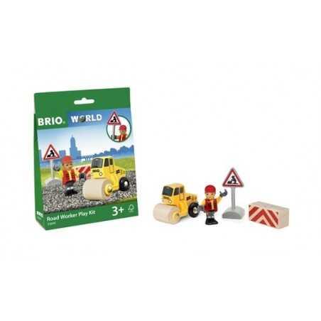 KIT DA LAVORO CON OPERAIO STRADALE treni in legno BRIO trenino 33899 road worker play kit WORLD età 3+ BRIO - 1