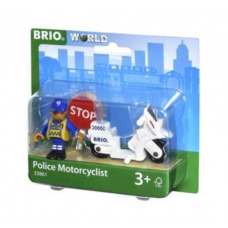POLIZIOTTO MOTOCICLISTA treni in legno BRIO trenino 33861 police motorcyclist WORLD moto POLIZIA età 3+ BRIO - 1