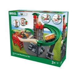 SET MAGAZZINO SOLLEVA E CARICA treni in legno BRIO trenino 33887 lift & load warehouse WORLD età 3+ BRIO - 1
