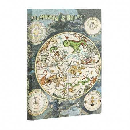 Diario flexi a righe PLANISFERO CELESTE midi cm 13x18 Paperblanks 176 pagine notebook flessibile taccuino Paperblanks - 1