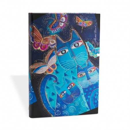 Diario a righe GATTI BLU E FARFALLE mini cm 10x14 - PAPERBLANKS 176 pagine taccuino notebook Paperblanks - 1