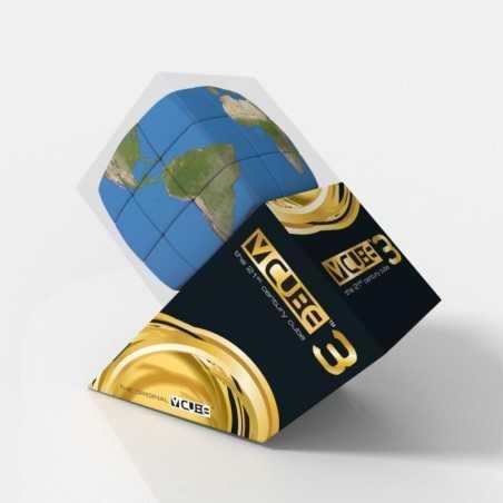 V-CUBE 3 cubo di rubik MAPPAMONDO nuovo design ROMPICAPO pianeta TERRA bombato 3X3 età 6+ DAL NEGRO - 1