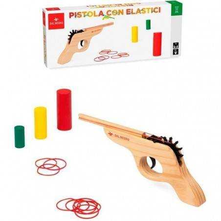 PISTOLA CON ELASTICI tiro a segno 3 BERSAGLI colorati in legno DAL NEGRO set di elastici GIOCO età 6+ DAL NEGRO - 1