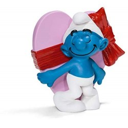 PUFFO SAN VALENTINO personaggi in resina SCHLEICH miniature 20747 smurfs PUFFI innamorato DIPINTO A MANO età 3+ Schleich - 1