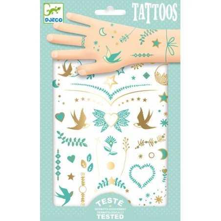 TATTOOS tatuaggi LILY'S JEWELS tattoo ORO per bambini DJECO rimuovibili con acqua DJ09593 età 3+ Djeco - 1