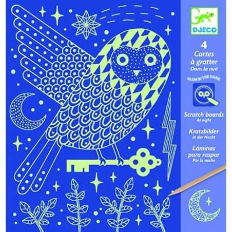 CARTE DA GRATTARE kit artistico DI NOTTE si illumina al buio DJECO animali notturni DJ09735 età 6+ Djeco - 1