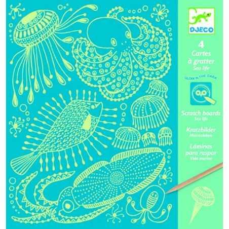 CARTE DA GRATTARE kit artistico CREATURE MARINE si illumina al buio DJECO pesci DJ09729 età 6+ Djeco - 1