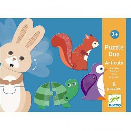 PUZZLE DUO 6 soggetti ANIMALI gioco DJECO sagomati DJ08175 animati ANIMALS età 2+ Djeco - 1