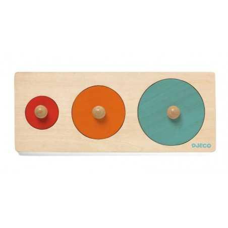 BIGA BASIC puzzle delle forme ANIMALI in legno DJECO gioco CERCHI kit artistico DJ06201 età 12 mesi + Djeco - 1