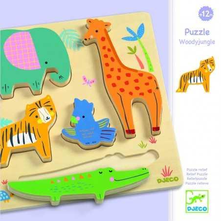 PUZZLE WOODYJUNGLE animali DJECO kit artistico DJ01052 in legno INCASTRI età 12 mesi + Djeco - 1