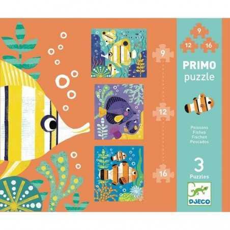 PRIMO PUZZLE PESCI animali DJECO gioco DJ07138 fishes 3 SOGGETTI da pezzi 9 12 16 INCASTRO età 3+ Djeco - 1