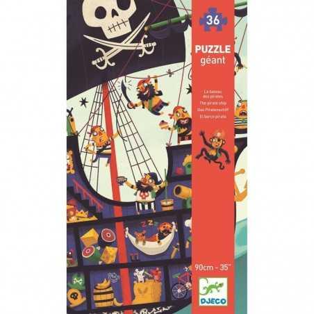 PUZZLE GIGANTE gioco LA NAVE DEI PIRATI geant DJECO incastri DJ07129 90 cm 36 PEZZI età 4+ Djeco - 1
