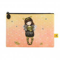 BUSTA MAKE UP FLAT pochette BEE LOVED santoro GORJUSS london 895GJ01 accessory case GIALLO just bee cause Gorjuss - 1