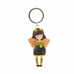 PORTACHIAVI keyring BEE LOVED gorjuss 631GJ10 santoro GIALLO london BAMBOLINA just bee cause Gorjuss - 1