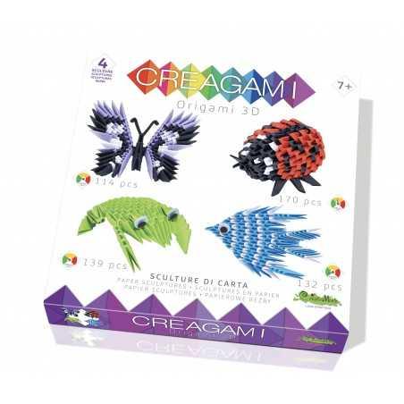 CREAGAMI SET 4 SCULTURE carta da piegare Creativamente made in Italy COCCINELLA RANA PESCE FARFALLA Creativamente - 1
