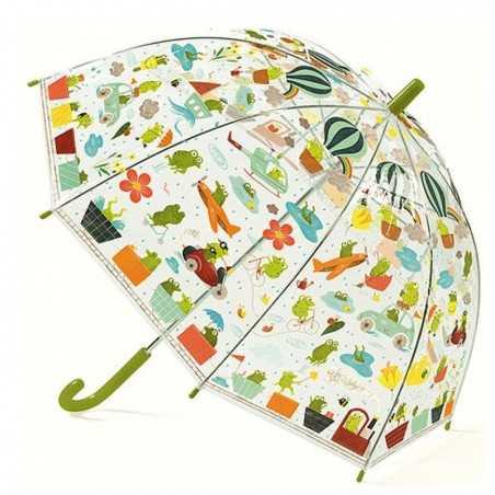 OMBRELLO trasparente RANOCCHIE anti pioggia DJECO gioco di imitazione DJ04808 VERDE età 3+ Djeco - 1
