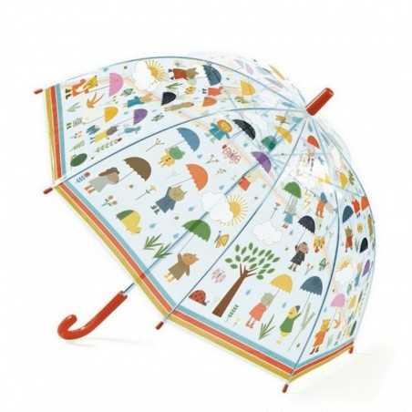 OMBRELLO trasparente SOTTO LA PIOGGIA anti pioggia DJECO gioco di imitazione DJ04809 ROSSO età 3+ Djeco - 1
