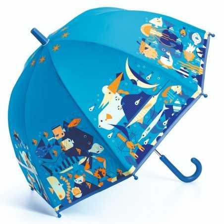 OMBRELLO per bambini MONDO MARINO anti pioggia DJECO gioco di imitazione DJ04703 ocean BLU età 3+ Djeco - 1