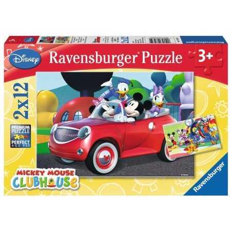 2 PUZZLE DA 12 PEZZI ravensburger MICKEY MOUSE CLUBHOUSE disney TOPOLINO 2 x 12 07565 età 3+ Ravensburger - 1