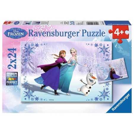 2 PUZZLE DA 24 PEZZI ravensburger FROZEN disney 2 x 24 SORELLE PER SEMPRE 09115 età 4+ Ravensburger - 1