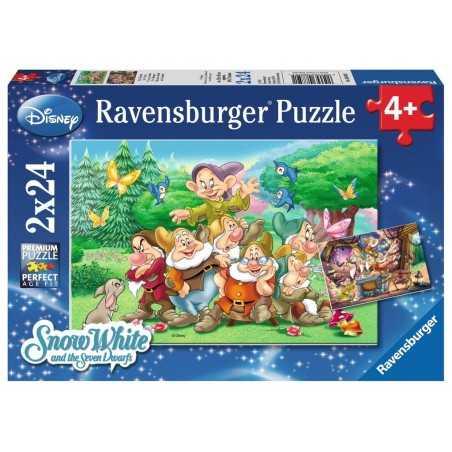 2 PUZZLE DA 24 PEZZI ravensburger I SETTE NANI AL LAVORO disney 2 x 24 7 NANI 08859 età 4+ Ravensburger - 1