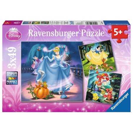 3 PUZZLE DA 49 PEZZI ravensburger DISNEY PRINCESS 3 x 49 biancaneve cenerentola sirenetta 09339 età 5+ Ravensburger - 1