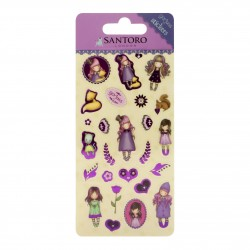 SET DI 26 STICKERS santoro GORJUSS london THE DREAMER adesivi 680GJ11 cromature viola Gorjuss - 1