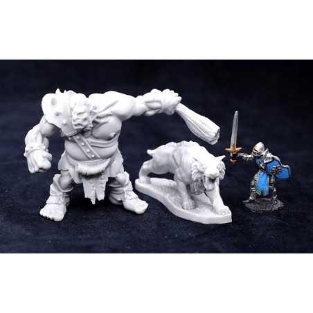 BONES IV 4 HILL GIANT HUNTSMAN with DIRE LION Reaper miniature in plastica Kickstarter limited edition Reaper Miniatures - 1