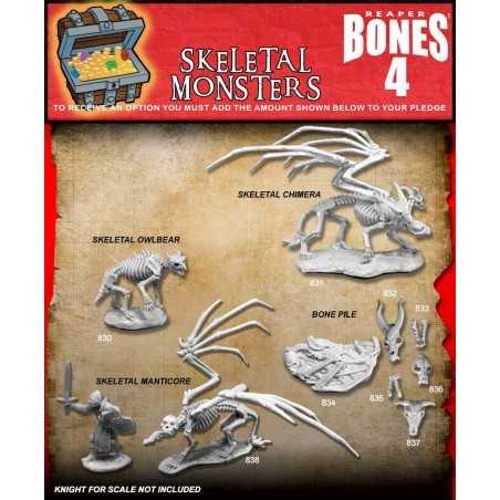 BONES IV 4 SKELETAL MONSTERS Reaper miniature in plastica Kickstarter limited edition Reaper Miniatures - 1