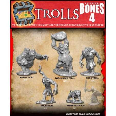 BONES IV 4 TROLLS Reaper 5 miniature in plastica Kickstarter limited edition Reaper Miniatures - 1