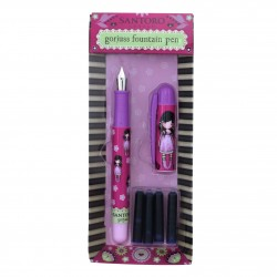 PENNA STILOGRAFICA fountain pen YOU BROUGHT ME LOVE gorjuss 4 RICARICHE santoro london 510GJ08 stilo FUCSIA Gorjuss - 2