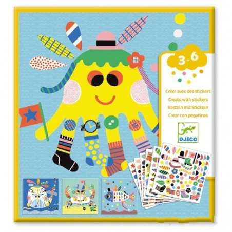 CREARE CON ADESIVI stickers ANIMALI MARINI kit artistico 4 TAVOLE set DJECO DJ08931 età 3+ Djeco - 1
