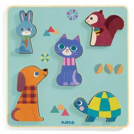 PUZZLE in legno MOUSTACHA gioco 5 ANIMALI incastri DJECO in rilievo DJ0160 età 12 mesi + Djeco - 1