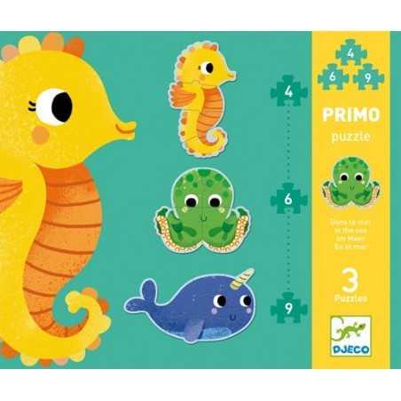 PRIMO PUZZLE 3 animali NEL MARE gioco 3 ANIMALI incastri DJECO 4 6 9 pezzi DJ07144 età 2+ Djeco - 1