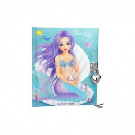 DIARIO SEGRETO fantasy TOP MODEL con lucchetto e chiavi SIRENA copertina imbottita MERMAID TOP MODEL - 1